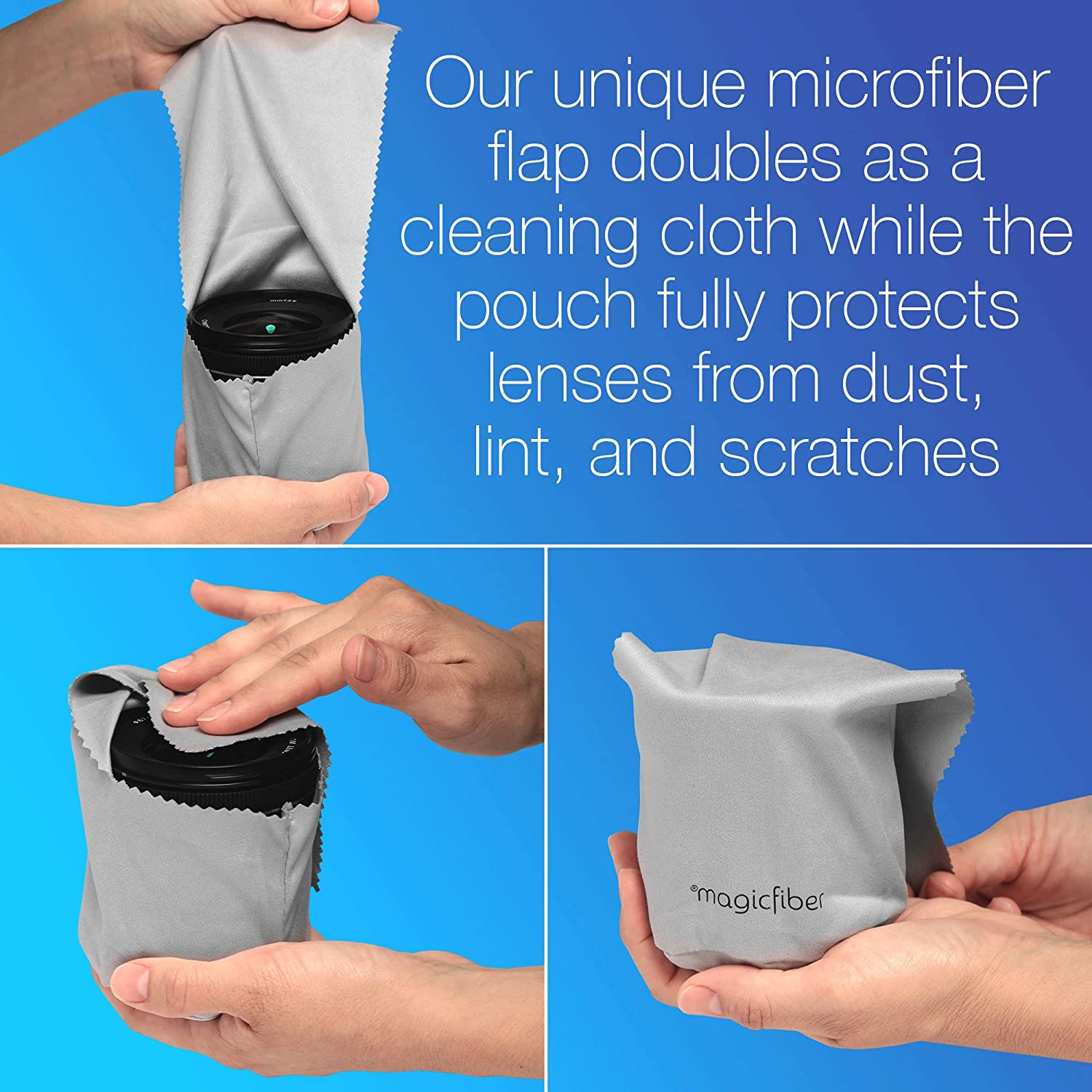 Ultra Soft Lens Cleaner with Buttoned Closure Camera Lens Black Smartphone King of Flash Microfibre Cleaning Cloth Pouch for Eyeglasses