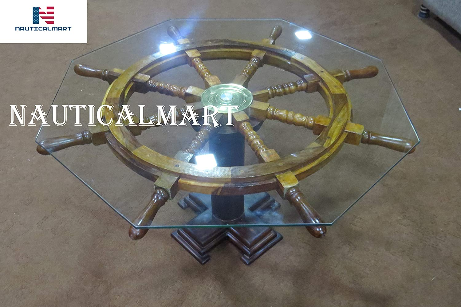 Amazon Com Vintage Ship S Wheel Coffee Table With Glass By Naticalmart Kitchen Dining