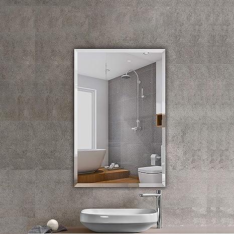 Amazon Com Beauty4u Rectangular Frameless Wall Mirrors 24 X 36 Frameless Beveled Hd Bathroom Mirror Vanity Make Up For Wall Décor Kitchen Dining