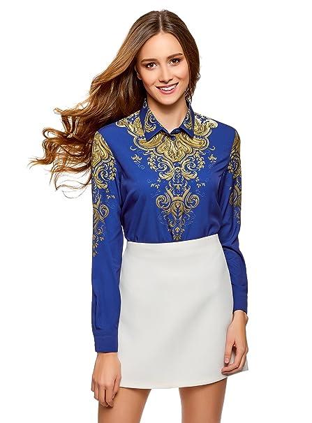 oodji Collection Mujer Blusa Recta con Estampado, Azul, ES 36 / XS