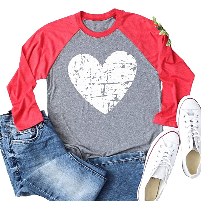 2d7dc048 Enmeng Womens Long Sleeve Love Heart T-Shirt Valentine's Day Raglan Shirt  Graphic Tees (