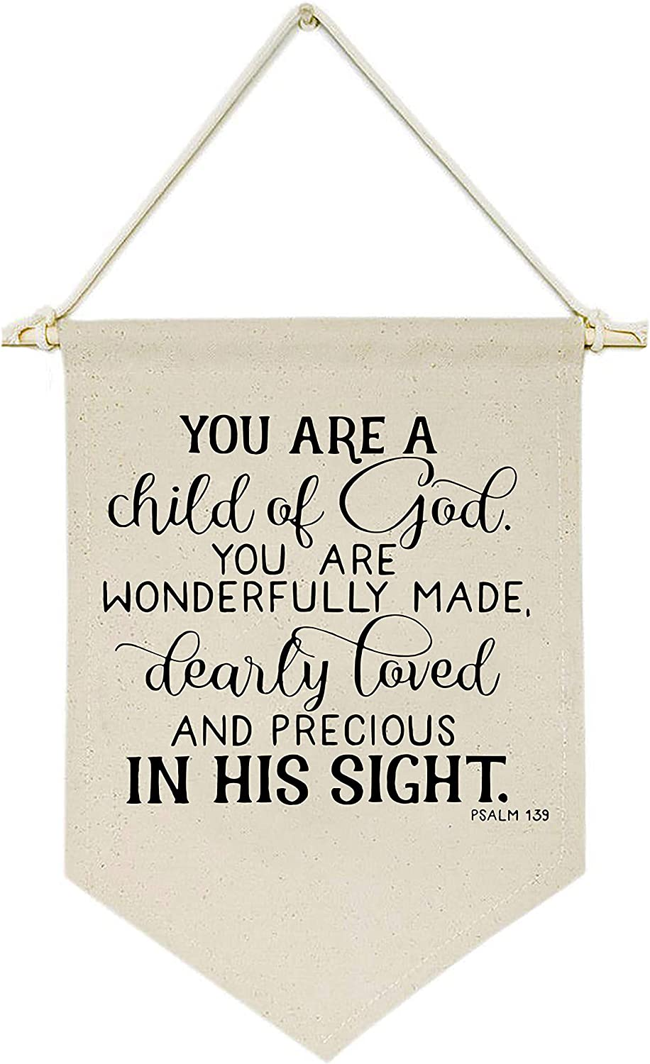 Topthink You are a Child of God You are Wonderfully Made - Canvas Hanging Flag Banner Wall Sign Decor Gift for Baby Kids Girl Boy Nursery Teen Room Front Door - Motivational Inspirational Decor