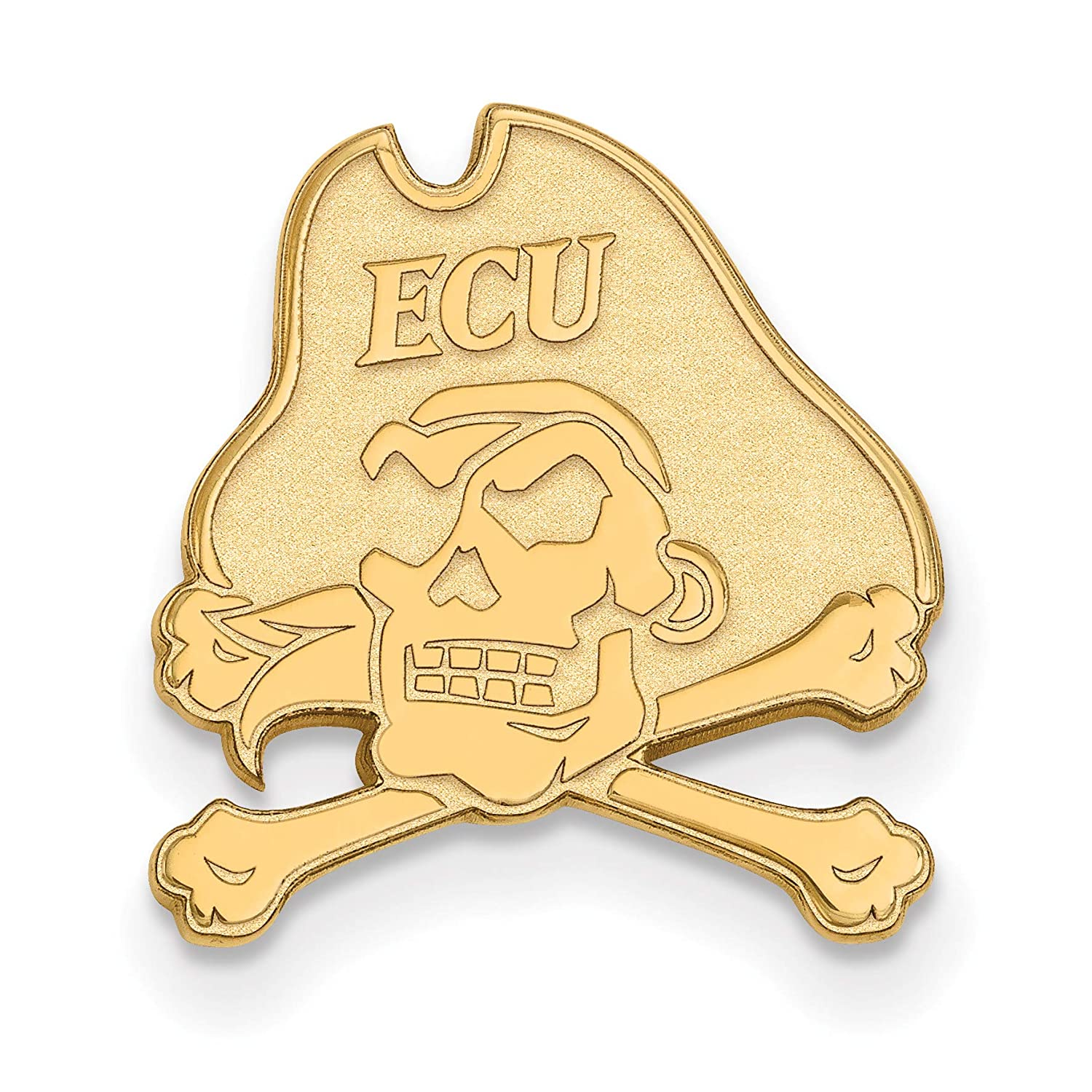 Sterling Silver w// 14K Yellow Gold-Plated LogoArt Official Licensed Collegiate East Carolina U Black Leather Oval Key Chain