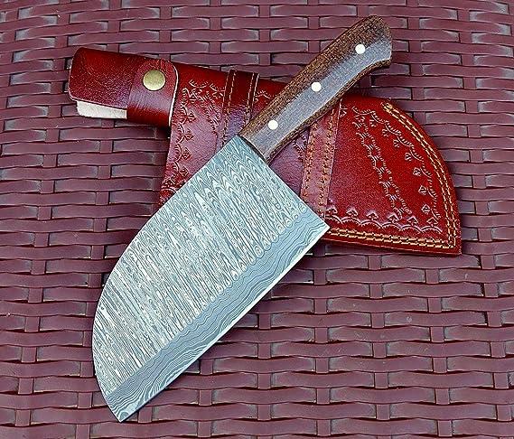 "10/"" Handmade Custom Damascus Steel Chef Kitchen Chopper or Cleaver Knife; 5484"