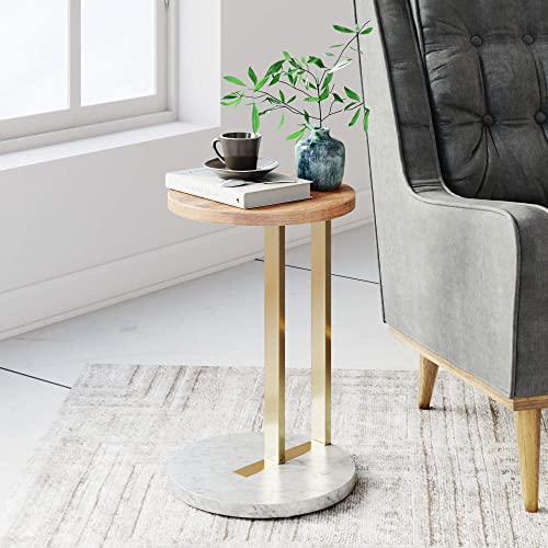 Nathan James Wyatt Modern Round Side Table with Marble Base, Metal Finish Laminate Wood Tabletop, Oak Brass