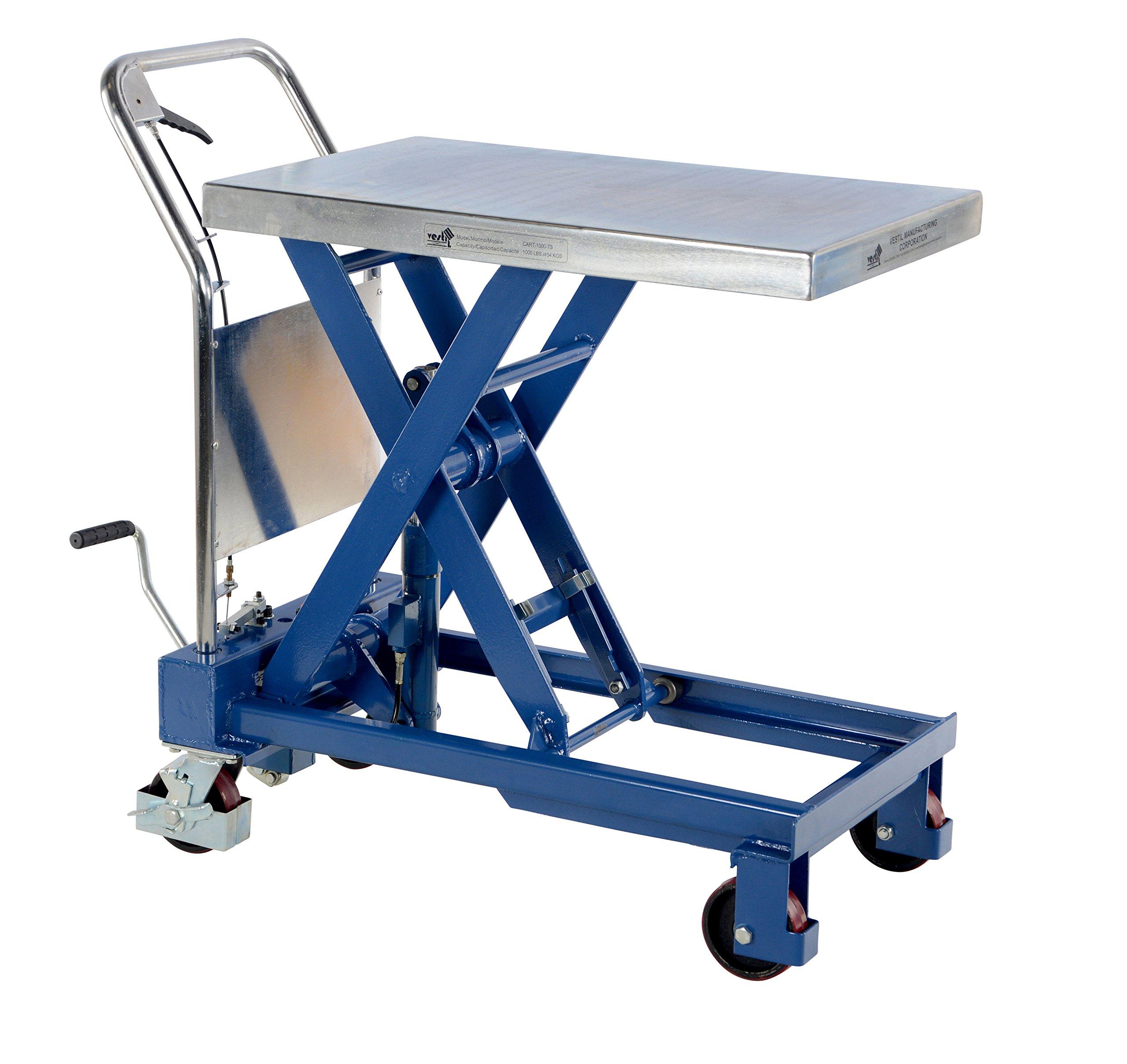 Vestil CART-1000-TS Hydraulic Elevating Cart, 1000 lbs Capacity, 32'' Length x 19-3/4'' Width Platform