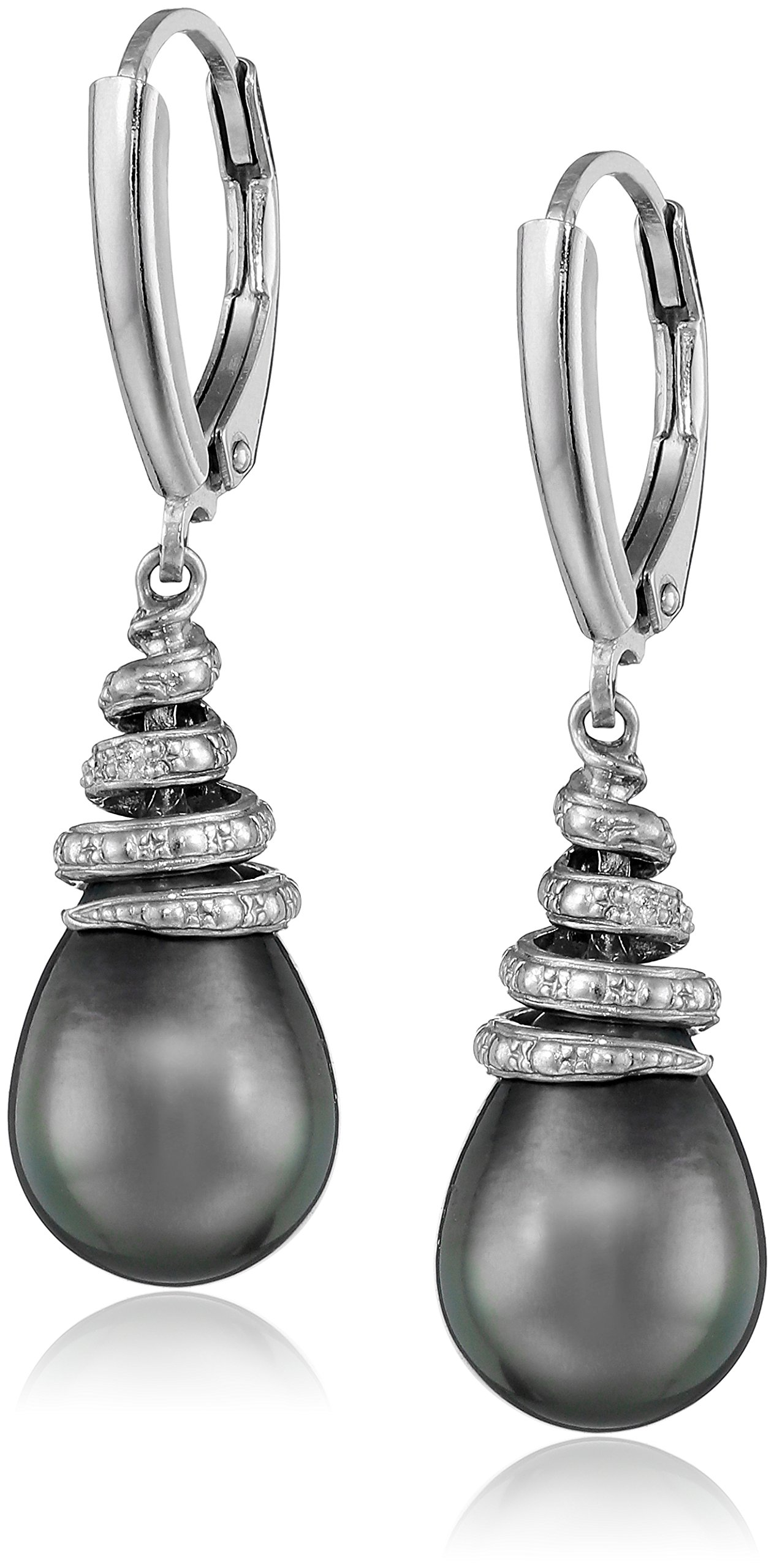 Sterling Silver Tahitian Cultured Black Pearl, and Diamond Dangle Earrings