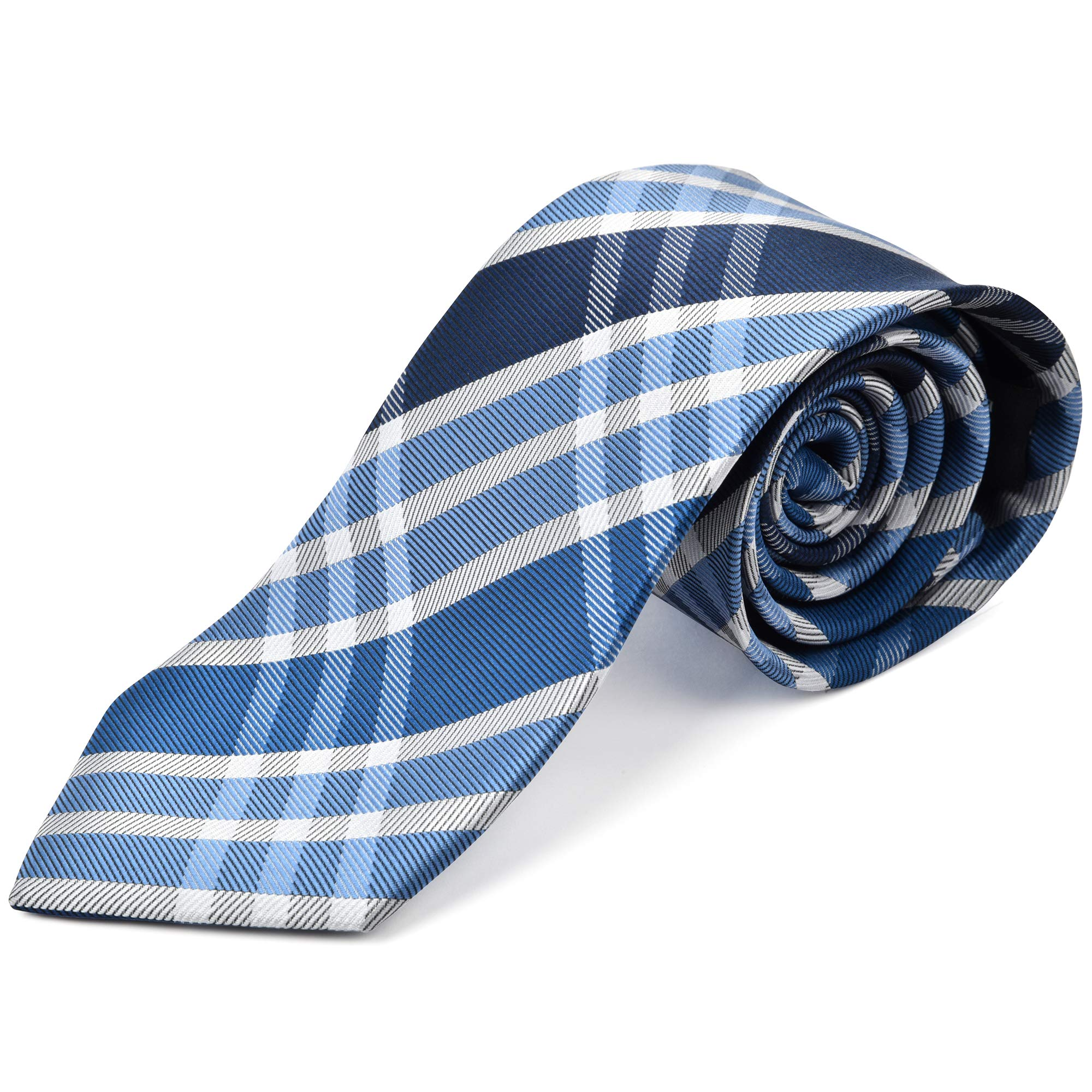 Ike Behar Boys 52'' Blue And Grey Plaid Tie