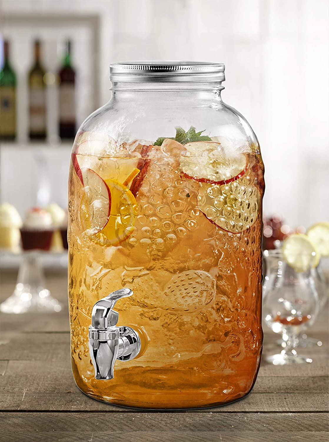 Style Setter Fruit Embossed 210440-GB 168 Ounce Glass Beverage Dispenser with Metal Lid 9 x 11.3 Clear The Jay Companies