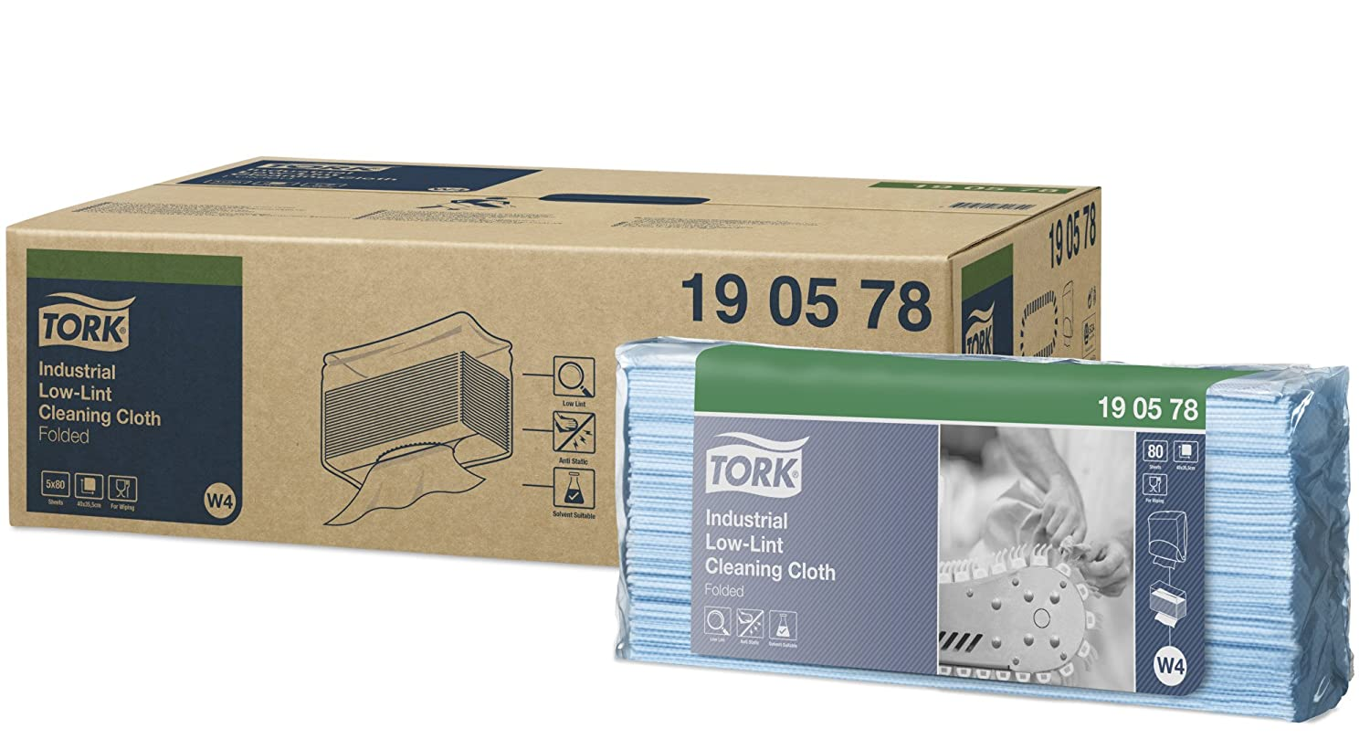 SCA Tork 190578 Industrial Low-Lint Cleaning Cloth (Pack of 400)