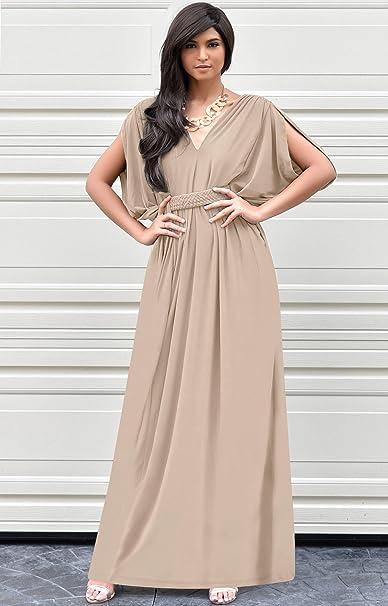 bca7b687ec7 KOH KOH Womens Long V-Neck Summer Sexy Gown Grecian Flowy Sleeveless Maxi  Dress  Amazon.com.au  Fashion