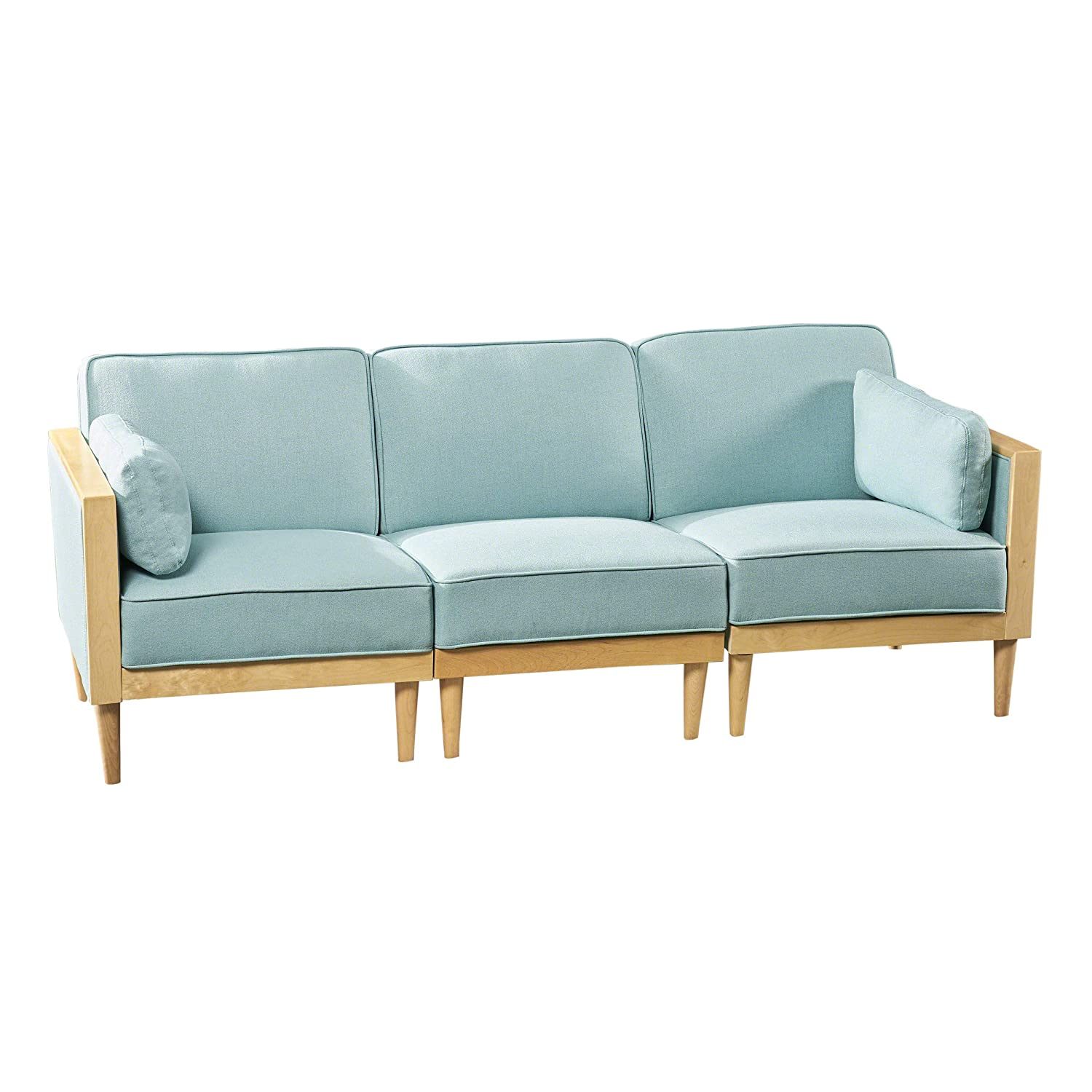 Tegan sectional sofa set 3 piece deep seating piped cushions contemporary mid century modern modular configurable sky blue with natural