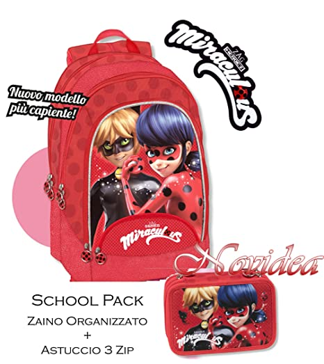 miglior servizio 74939 edd04 Zaino Scuola Rotondo LADYBUG Miraculous Disney 2018/2019 + ...