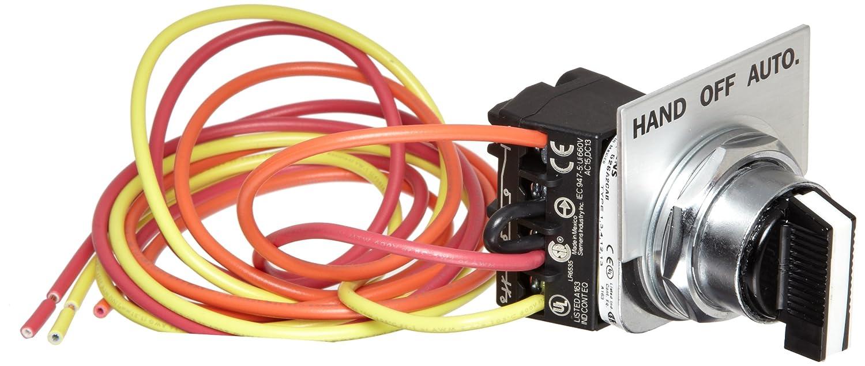Siemens 49SAS01 Pilot Device, Hand-Off-Auto Selector Switch, 14, 17, 18,  36, 37, 40, 83, 84, LEN, CLM, LED,LEF, LEB, CMN, CMF, CMB Class, 1, 12,  4/4X