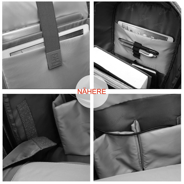 Grau CoolBell Stadt Anti-Diebstahl Rucksack 15,6 Zoll Laptop Rucksack mit USB Ladeanschluss Functional Schulrucksack Knapsack leicht School Bag wasserdicht Backpack f/ür Herren//Damen