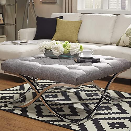 Inspire Q Bold Solene X Base Square Ottoman Coffee Table – Chrome by Grey Button Tufts