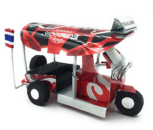 Amazon.com: WD store Wd- Thai tuktuk classic handmade Thai TUK TUK taxi made of Coca Cola can aluminium model Collection show in room home office or great ...