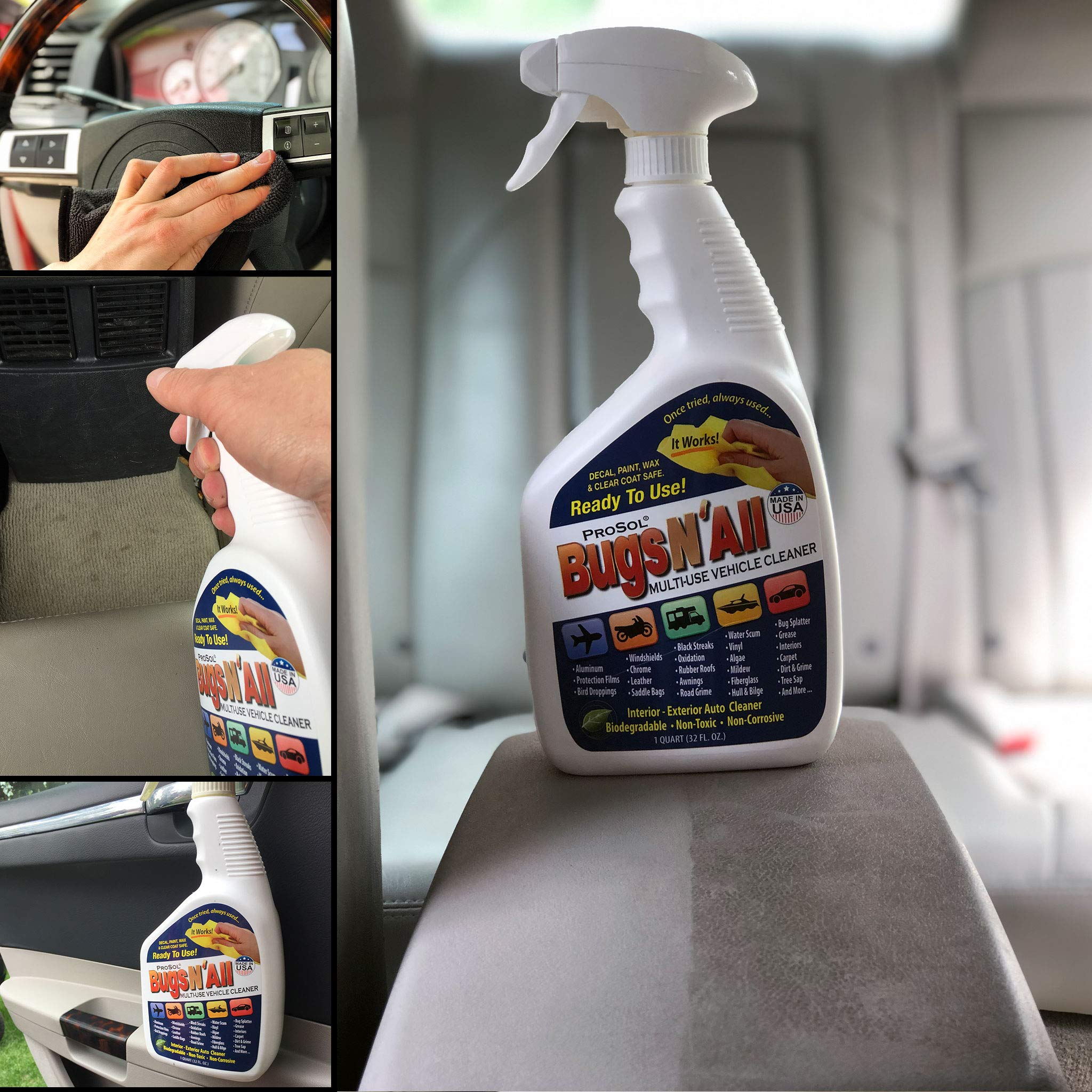 Bugs N All - Multi-Surface Vehicle Cleaner/Bug Remover. 1qt. Concentrate Makes 8 Quarts. Includes an Empty 1 Qt. Spray Bottle - Safe on Wax, Clear Coat, Paint, Decals and on All Surfaces. by ProSol (Image #5)