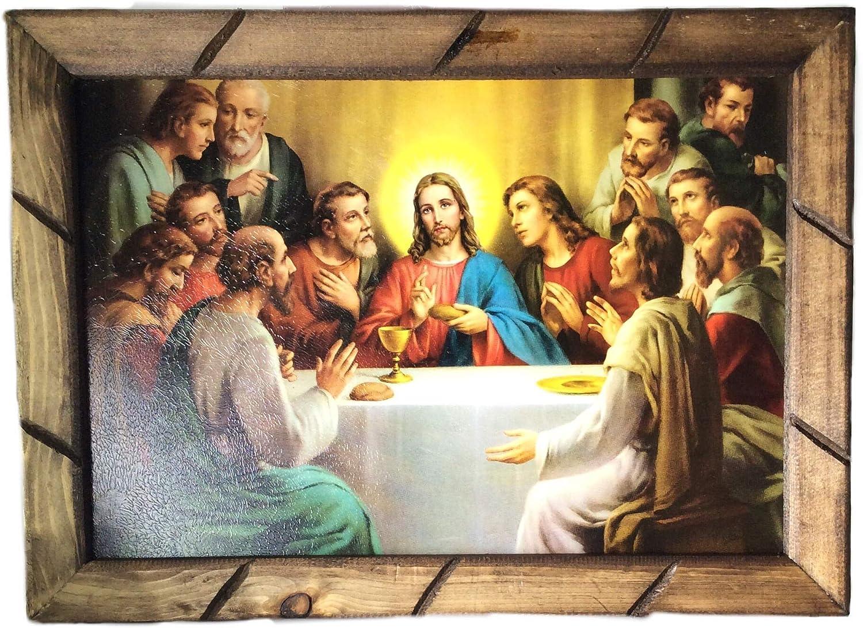 La Ultima Cena Cuadro Religioso Con Marco De Madera Rustica Para Colgar 18 X13 X1 Nuevo Hecho En Mexico View Amazon Detail Page Posters Prints