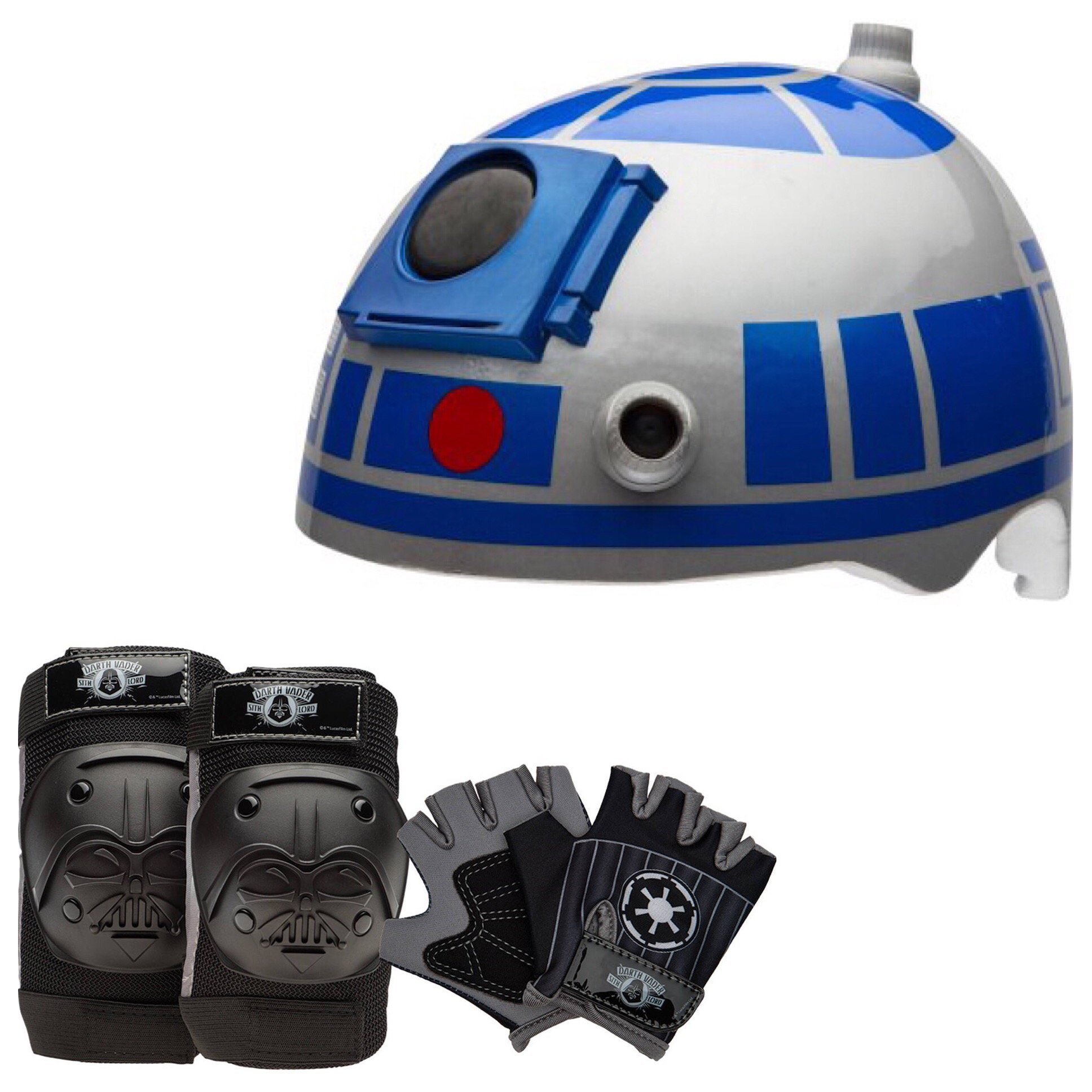 Star Wars R2-D2 Skate / Bike Helmet with Darth Vader Pads and Gloves - 7 Piece Set