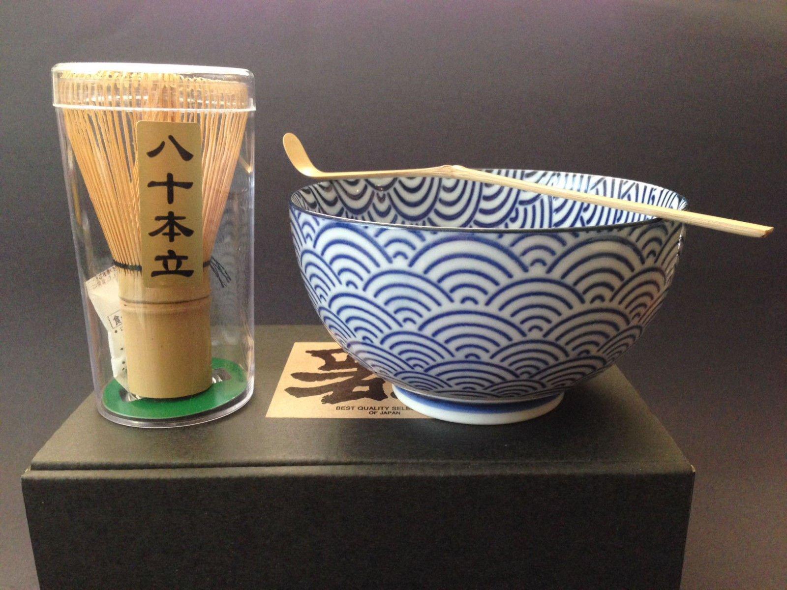 Japanese Blue Wave Matcha Bowl Cup Whisk Tea Ceremony Gift Set by Yokohama Gifts (Image #1)