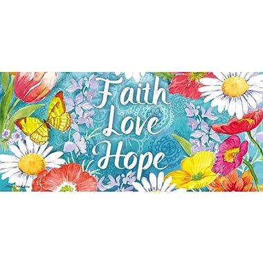 Evergreen Faith Love Hope Sassafrass Decorative Mat Insert, 10 x 22 inches