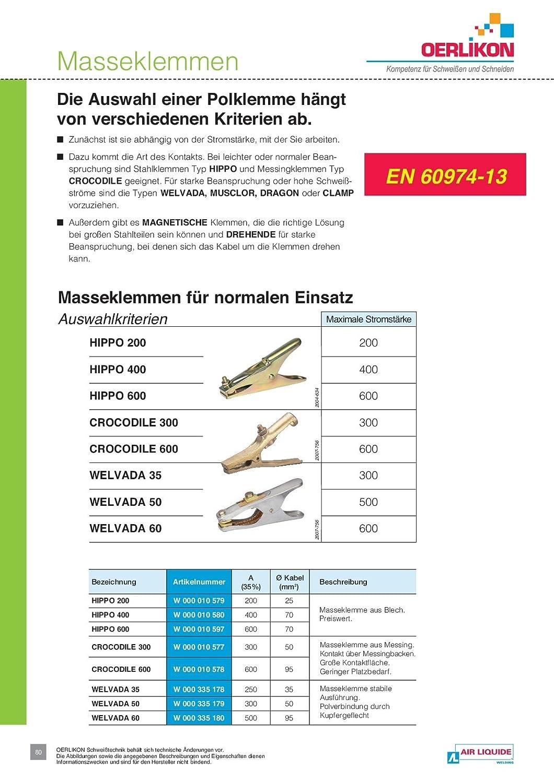 OERLIKON Masseklemme Massezange Erdungszange HIPPO 200 f/ür Kabeldurchmesser 25 mm/² 200 A