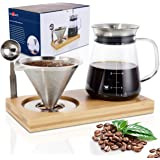 Aquach Pour Over Coffee Maker Set with Extra Large Coffee Dripper, 28 oz Glass Carafe, Stainlesss Steel Coffee Scoop and Bamb