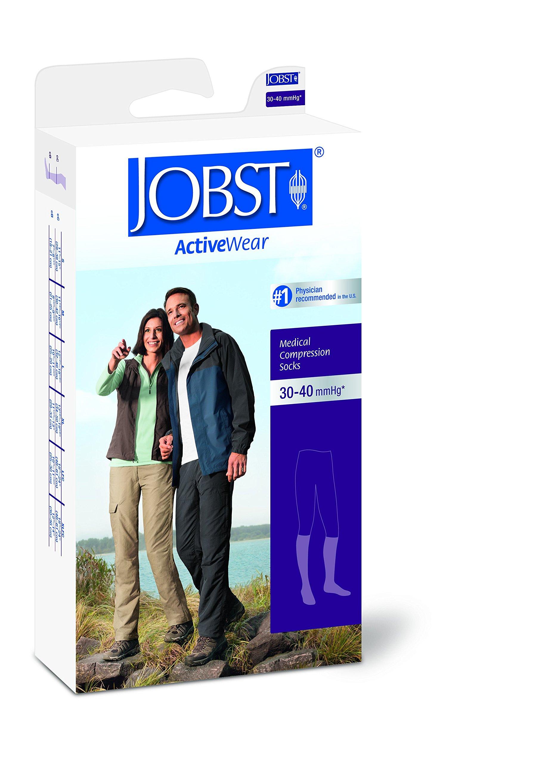 JOBST Activewear 30-40 mmHg Knee High Compression Socks, Medium, Cool White