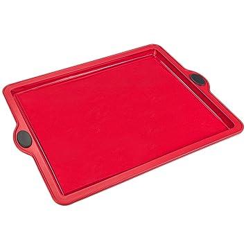 LEVIVO Molde de Horno de Silicona para Tartas Planas, Bases de Pizza y Pasteles, Rojo, 25.5 cm: Amazon.es: Hogar