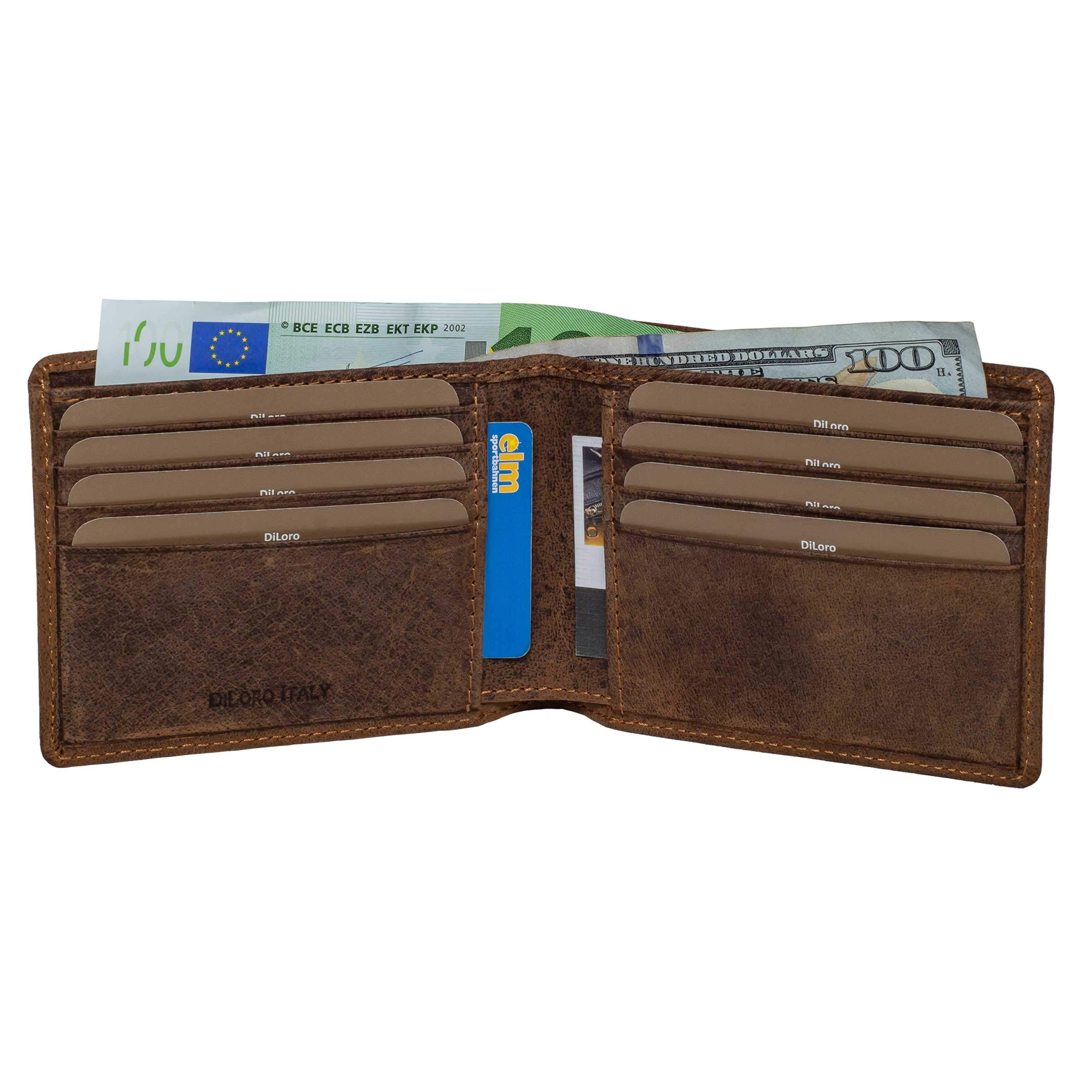 Diloro Men's Italy Slim Pocket Leather Bifold Soft Nappa Travel Leather Wallet RFID Safe In Dark Hunter 1712, Brown by DiLoro