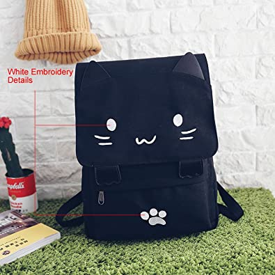 Cute Cat Canvas Backpack Cartoon Embroidery Backpacks For Teenage Girls School Bag Fashion Black Printing Rucksack