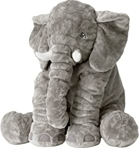 Mystery&Melody Long Nose Elephant Plush Toys Stuffed Elephant Animal Toys Soft Toys for Baby (Grey Elephant, L)