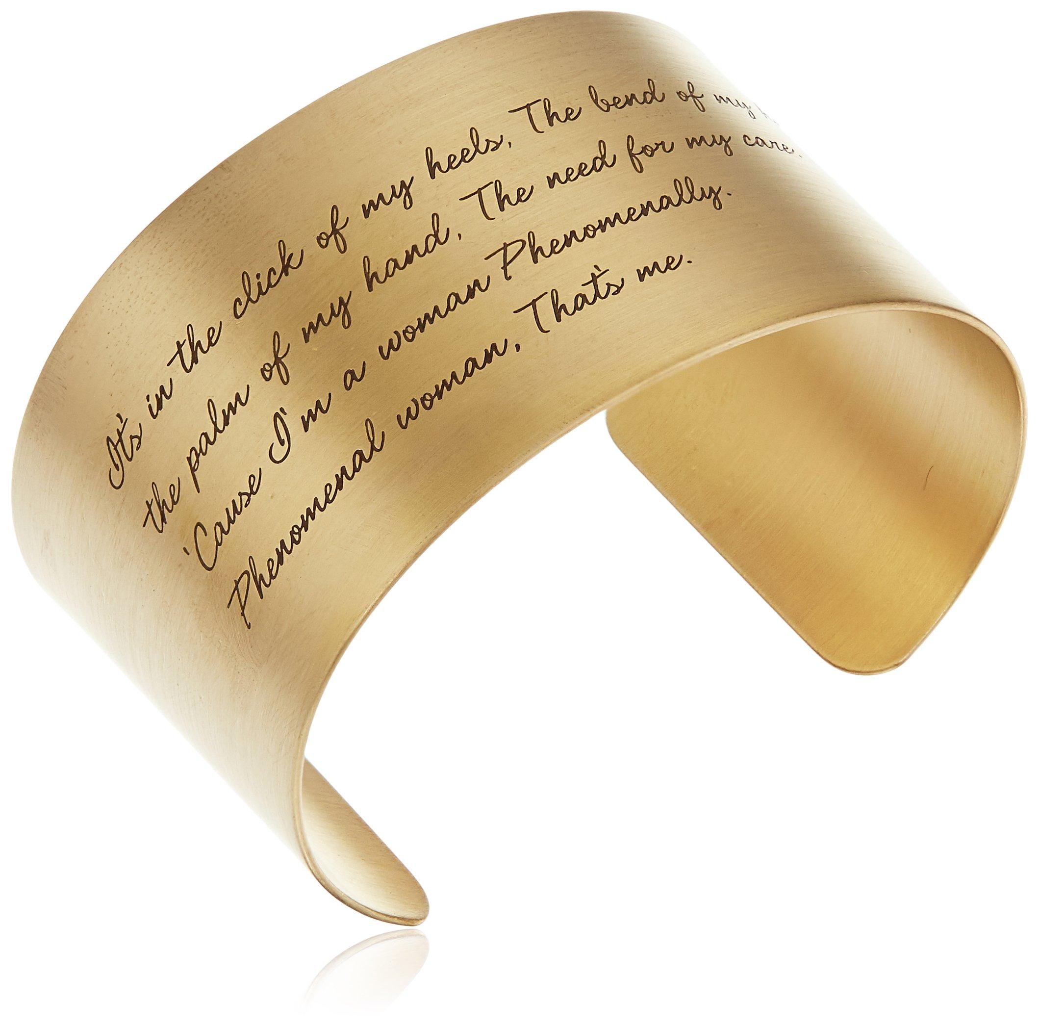 Dogeared ''Maya Angelou'' Phenomenal Woman Large Engraved Gold Cuff Bracelet