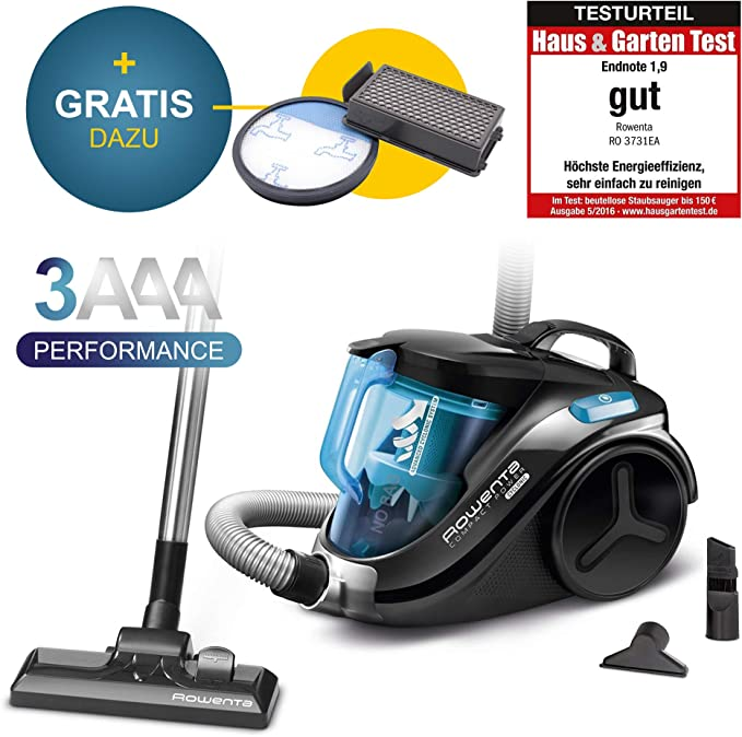 Rowenta RO 3731EA Juego Repuesto (750 W=2000 W, Filtro de Alta eficiencia, 3 Etiquetas de energía A, aspiradora sin Bolsa, Precio de actuación), Color Azul, plástico, Beige, Negro: Amazon.es: Salud