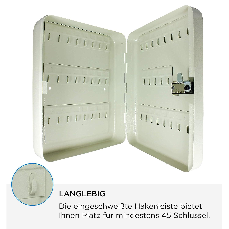 Caja Fuerte para Llaves con c/ódigo num/érico, 3 d/ígitos, 45 Ganchos, Incluye Tacos para Colgar, 300 x 245 x 70 mm SAFE