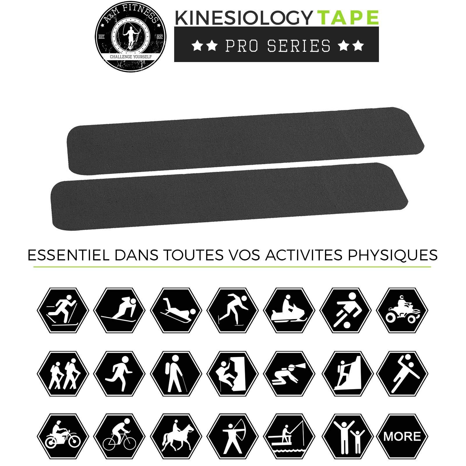 Bande de Kinesiologie Prédécoupée, Kinesio Tape pour Soutien Musculaire et Articulaire, Bande Médicale Strapping Professionnelle 2 Rouleaux de 5cm x 5mètres, Noir