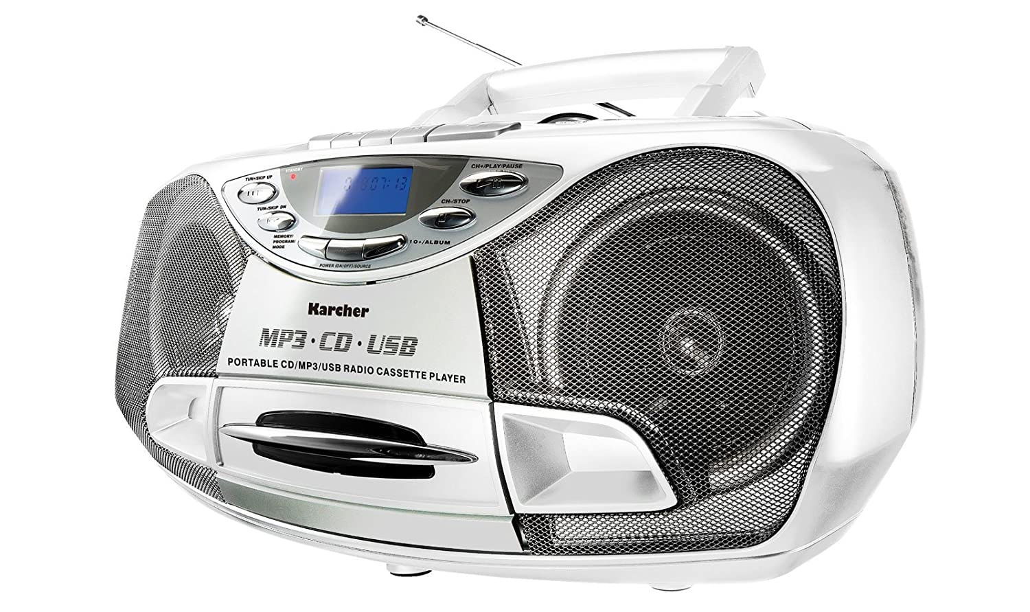 Karcher RR 510N Portable Radio CD Stéréo (Lecteur CD / MP3, Radio FM, Cassette, Lecture MP3, 100 Watt (PMPO), USB 2.0).