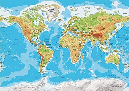 World map topographic atlas of the world poster a01189x841mm world map topographic atlas of the world poster a01189x841mm gumiabroncs Choice Image