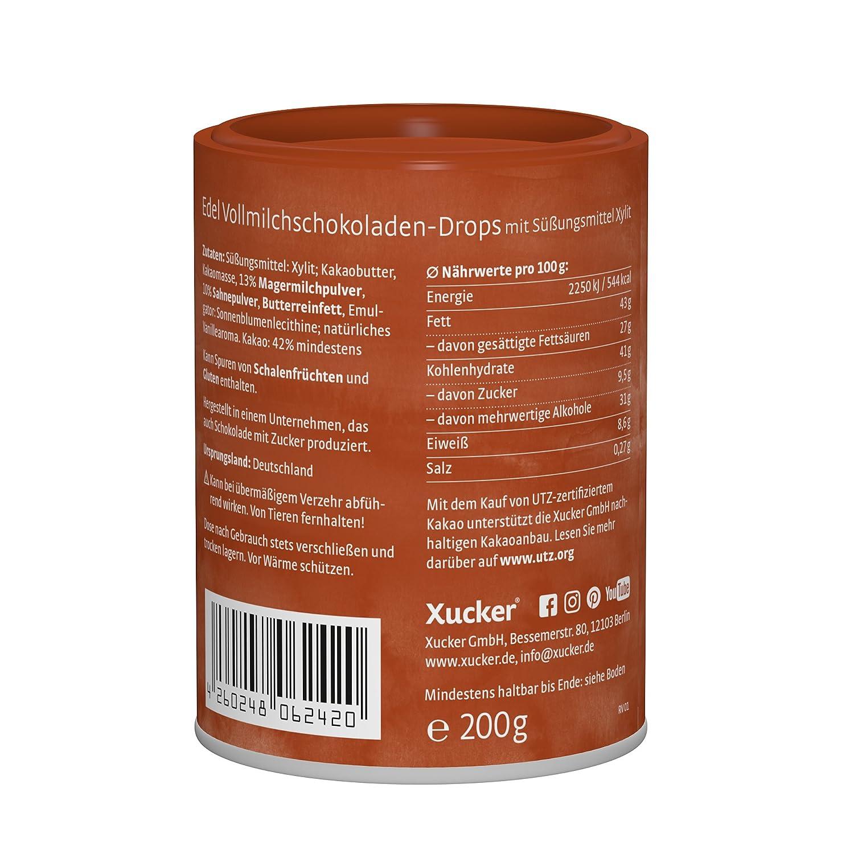 frei von Gentechnik kohlenhydrat-bewusste Schoko-Drops aus nachhaltigem Anbau Xucker 200 g Schokoladen-Drops Edel Vollmilch zahnfreundlich mit Xylit UTZ-zertifizierter Kakao