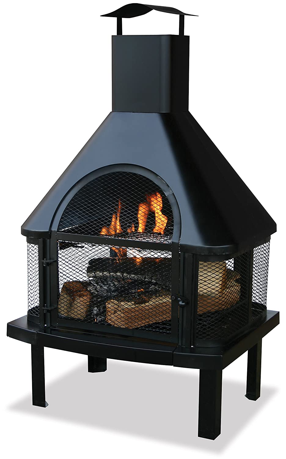Amazon.com : Uniflame Firehouse with Chimney, Black : Patio, Lawn & Garden - Amazon.com : Uniflame Firehouse With Chimney, Black : Patio, Lawn