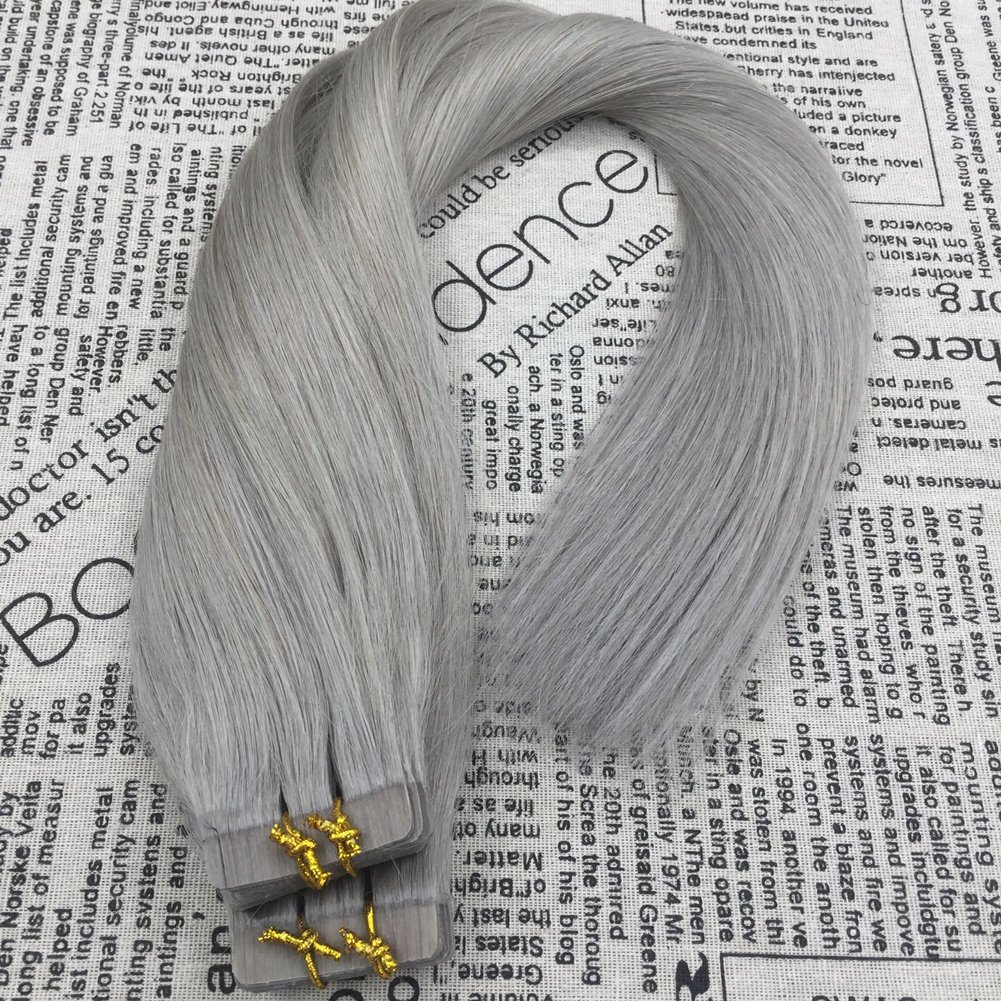 Moresoo Remy Extensiones de Pelo Adhesivas Tape in on Peluca Postizo Cortina Cabello Humano Natural Granny Grey Color #66 24Pulgadas/60cm 40pcs/100g: ...