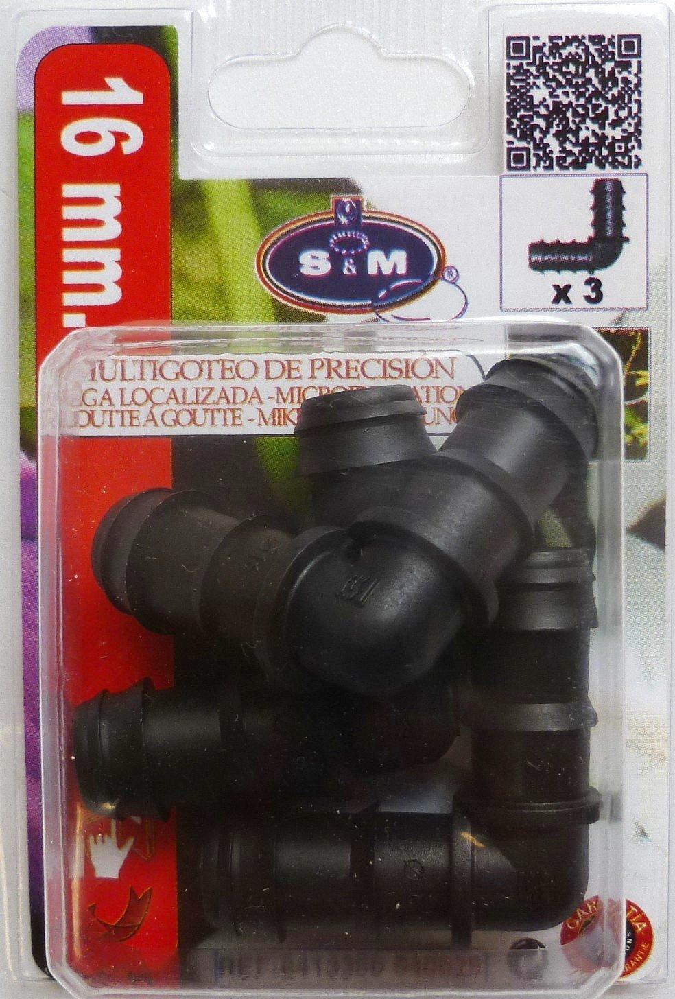 Blister de 3 Unidades Negro 3x8.5x12 cm S/&M Codo Goteo 16 mm
