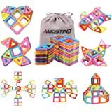 AMOSTING Magnetic Blocks for Kids, 56 Pcs Magnet Building Tiles Block Construction Toys, Creativity Kids Educational Toys Brain Games for Kids with Guide Booklet for Edutainment Gift ( Carrying Bag)