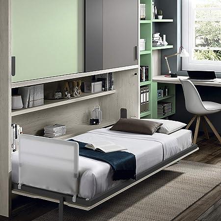 Muebles ROS - Cama abatible con armario de puertas correderas, 237,8 x 211,9 x 58,9 cm, roble, agua/gris: Amazon.es: Hogar