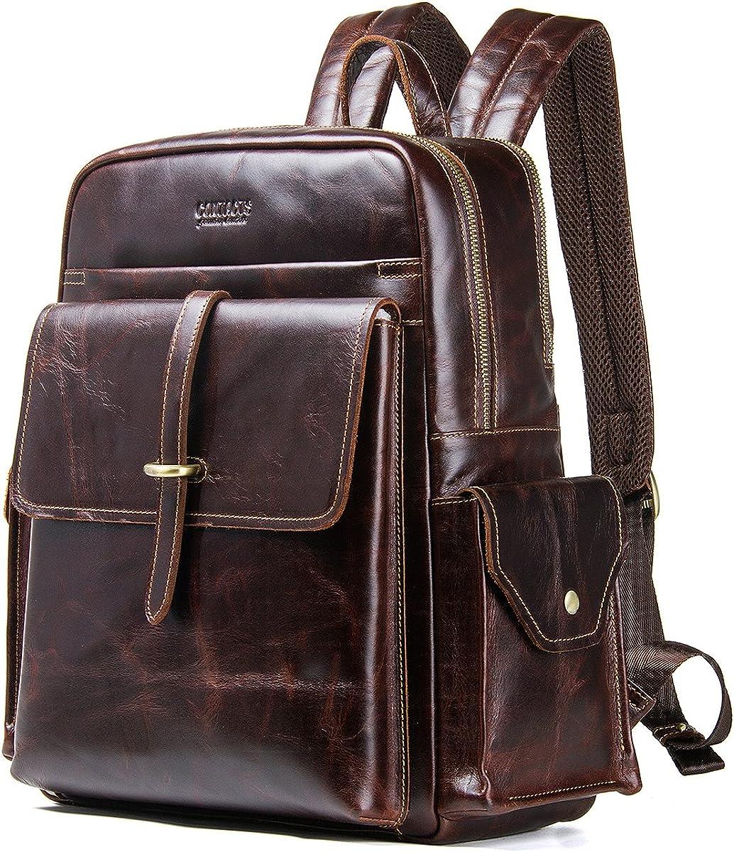 "Contacts Genuine Leather Men 13"" Laptop Computer Backpack Travel Handbag School Backpacks Bag"