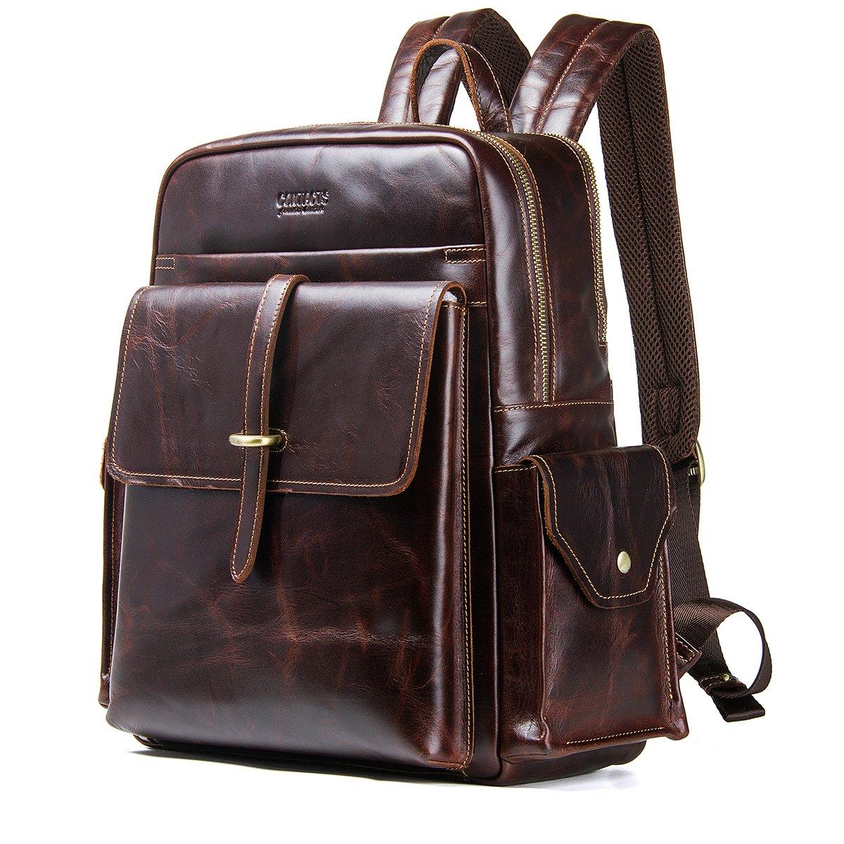 Contacts Mochila de cuero genuino para hombre de 13 pulgadas para ordenador portátil, bolso de viaje, mochilas escolares