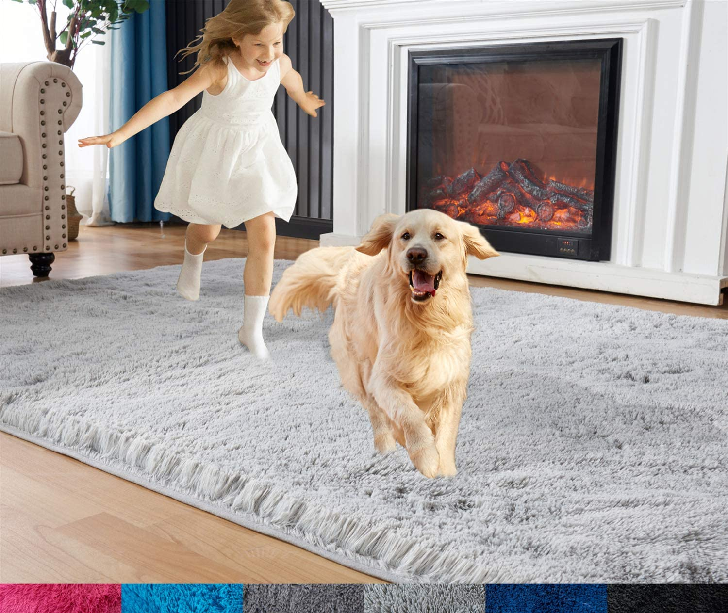 Rugs for Bedroom, Fluffy Area Rug, 3ft x 5ft Furry Carpet for Teens Room, Shaggy Throw Rug for Nursery Room, Fuzzy Plush Rug for Dorm, Cute Room Decor for Girls Boys Room, Light Gray