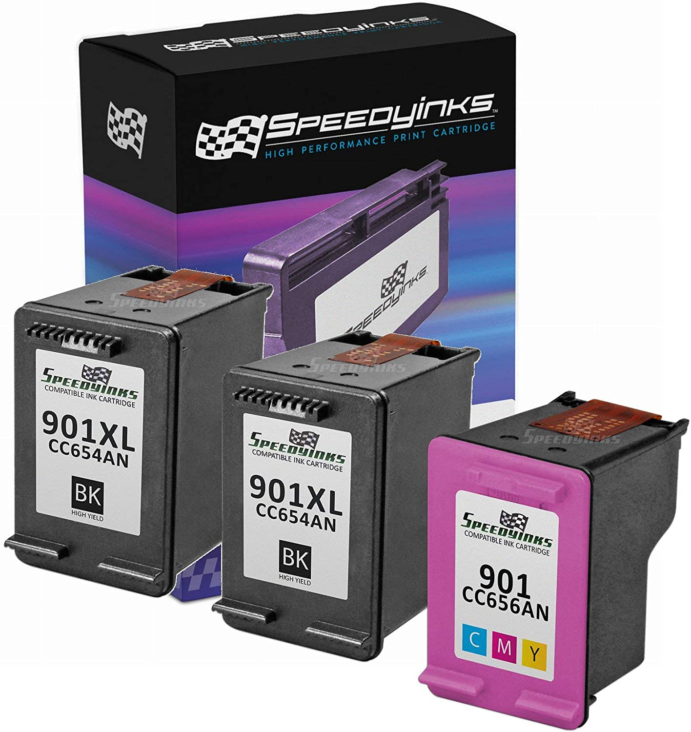 Black, 2-Pack LD Remanufactured Ink Cartridge Replacement for HP 901XL CC654AN High Yield