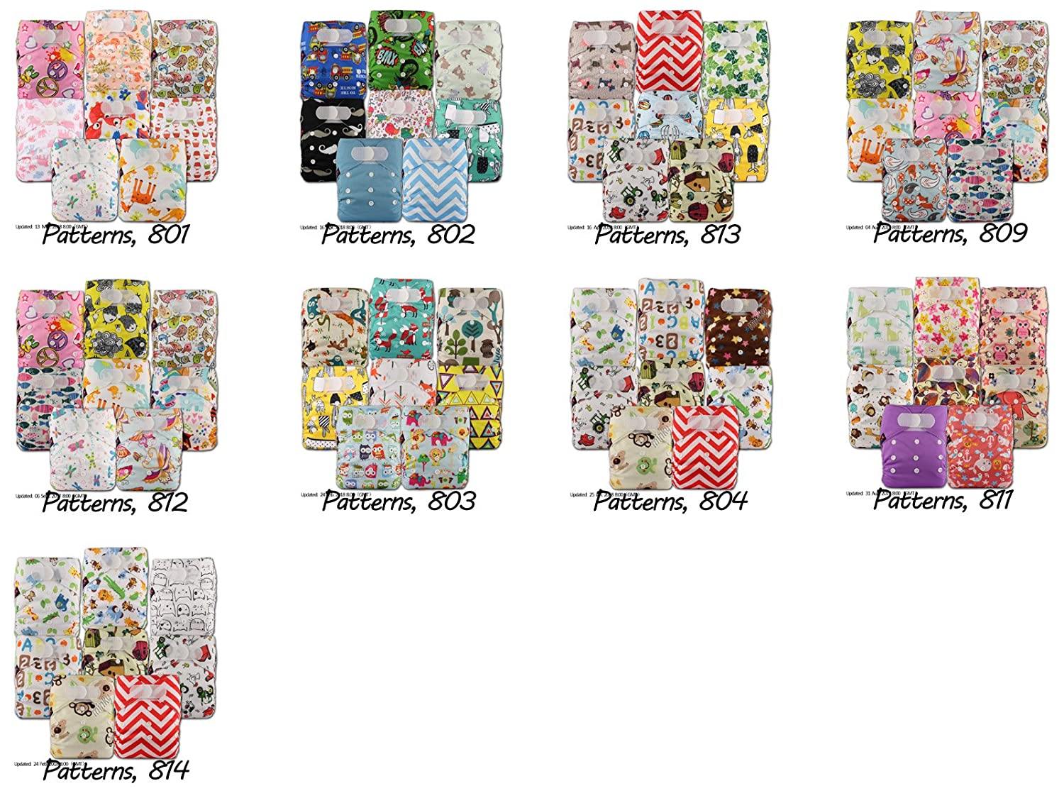 Patterns 811 Littles /& Bloomz with 16 Bamboo Inserts Set of 8 Reusable Pocket Cloth Nappy Fastener: Popper